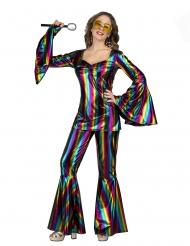 70er-Jahre Regenbogen-Kostüm für Damen Faschings-Verkleidung bunt