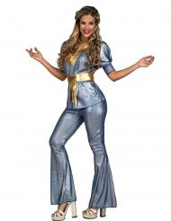 70er-Jahre Disco-Damenkostüm für Fasching Party-Outfit blau-gold