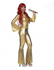 70er-Disco-Kostüm Faschings-Verkleidung für Damen goldfarben