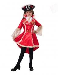 Kleine Barock-Piratin Mädchenkostüm für Fasching rot-beige-schwarz