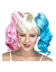 Verrückte Clown-Perücke für Damen Harlekin blond-pastellfarben