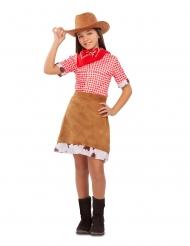 Hübsches Cowgirl-Kostüm für Mädchen Western-Verkleidung braun-rot-weiss