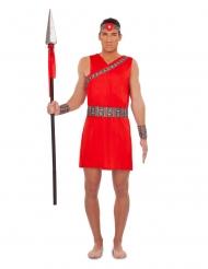 Massai-Herrenkostüm Kriegerische-Verkleidung für Fasching rot-bunt