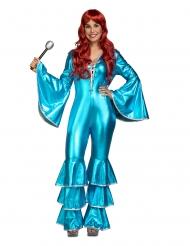 Disco 70´s-Kostüm für Damen Faschings-Verkleidung blau