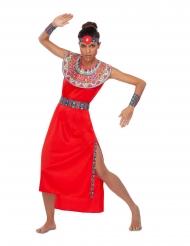 Massai-Damenkostüm für Fasching rot-bunt