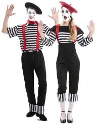 Pantomime Partnerkostüm für Erwachsene schwarz-weiss