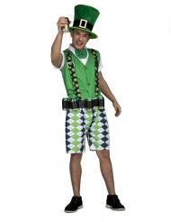 St. Patricks Day-Herrenkostüm mit Getränke-Gürtel grün
