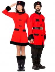 Russisches Soldaten-Paarkostüm Kulturelle-Verkleidung für Erwachsene rot-schwarz