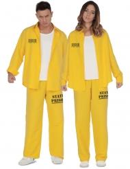 Sträflings-Paarkostüm für Erwachsene Gefangenen-Verkleidung gelb-schwarz