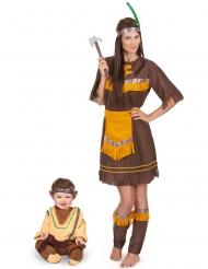 Western-Indianer-Paarkostüm Mutter & Kind-Kostüm für Fasching braun-gelb-beigefarben