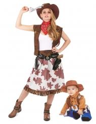 Cowboy-Kostüm Mutter & Kind Partnerkostüm für Fasching braun-weiss-rot