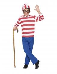 Kinderbuch-Kostüm für Jungen rot-blau-weiß