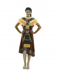 Azteken-Damenkostüm Faschings-Verkleidung braun-bunt