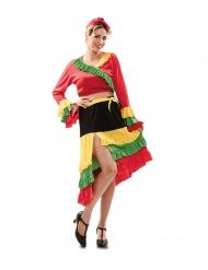 Rumba Tänzerin-Damenkostüm für Fasching rot-gelb-schwarz