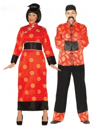 Chinesisches-Paarkostüm für Erwachsene asiatische-Verkleidung rot-schwarz-gelb