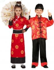 Kimono-Paarkostüm für Kinder Chinesische-Verkleidung Rot-schwarz