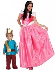 Märchen-Paarkostüm für Mutter und Kind Prinz und Prinzessin bunt
