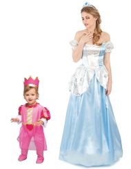 Prinzessinnen-Paarkostüm Mutter & Tochter Verkleidung blau-pink