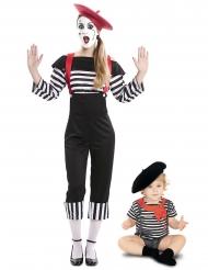 Paarkostüm Mutter & Kind Pantomime-Verkleidung für Fasching schwarz-weiss-rot