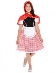 Entzückendes Rotkäppchen-Kinderkostüm für Mädchen rot-schwarz-weiss