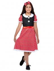 Hübsches Maus-Kostüm für Fasching Mädchenkostüm rot-schwarz
