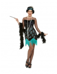 Stilvolles 20er-Jahre-Kostüm für Damen Pfauen-Motiv Charleston schwarz-türkis