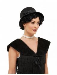 20er-Jahre Kostüm-Set 2-teilig für Damen Hut und Kragen schwarz