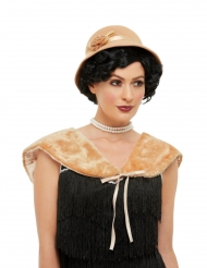 Charleston-Hut und Stola 20er-Jahre Kostüm-Accessoire beigefarben