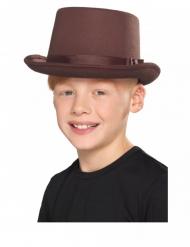Zylinder Kopfbedeckung für Kinder Accessoire für Fasching braun