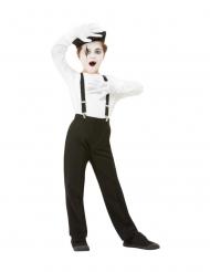 Pantomime-Kostüm-Set 4-teilig für Kinder Faschings-Zubehör schwarz-weiss