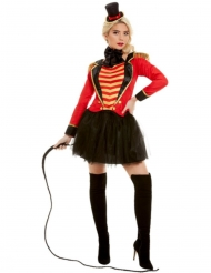Zirkusdompteurin Damenkostüm für Fasching rot-schwarz-goldfarben