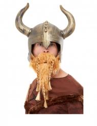 Heldenhafter Wikinger-Helm mit Bart Kostüm-Accessoire gold-braun