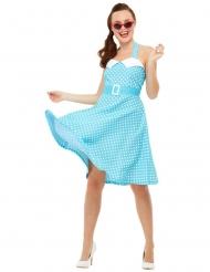 Sexy Pin-up Damenkostüm für Fasching blau-weiss