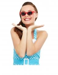 50er Retro-Brille mit Strasssteinen Damen-Accessoire rot