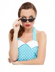 50er-Jahre Retro-Brille mit Strasssteinen Kostüm-Accessoire schwarz
