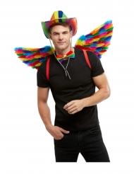 Gay Pride Flügel Kostüm-Accessoire in Regenbogenfarben bunt