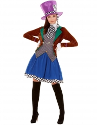 Wunderschönes Hutmacherin-Kostüm für Damen Märchen-Verkleidung bunt