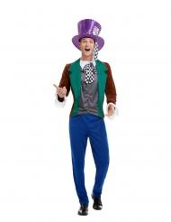 Verrückter Hutmacher märchenhaftes Herrenkostüm für Fasching blau-braun-grün