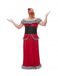 Zirkus-Kostüm bärtige-Frau Herrenkostüm für Fasching rot