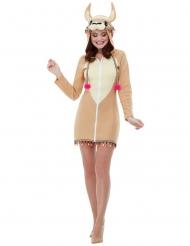 Lama-Tierkostüm für Damen Faschings-Verkleidung hellbraun