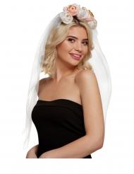 Schleier-Kopfbedeckung für Damen Braut JGA Accessoire weiss-rosa-gold