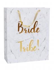 Geschenktasche für den Junggesellinenabschied Marmor Bride Tribe weiss-gold 32 x 25 cm