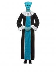 Alien-Kostüm für Erwachsene Bösewicht-Verkleidung schwarz-türkis-silber