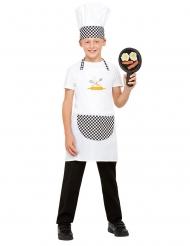 Lustiges Koch-Kostüm Berufs-Uniform für Kinder inkl. Pfanne weiss-schwarz