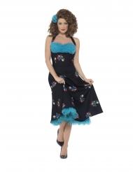 Grease™-Damenkostüm Cha Cha DiGregorio™ 50er-Jahre-Kleid schwarz-blau