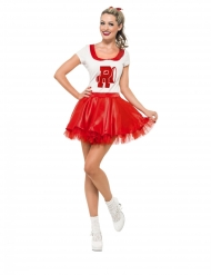 Grease™-Damenkostüm Cheerleaderin Sandy Faschings-Verkleidung rot-weiss