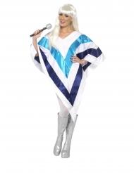 Disco-Kostüm für Damen 70er-Jahre-Poncho weiss-blau