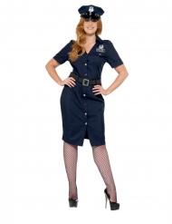 Polizei-Uniform Damenkostüm in Übergröße Berufe blau-schwarz