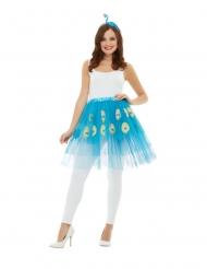 Pfauen-Kostüm-Set für Damen Rock und Kopfschmuck türkisfarben