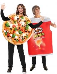 Paarkostüm Pringles™ und Pizza Fastfood-Verkleidungen bunt